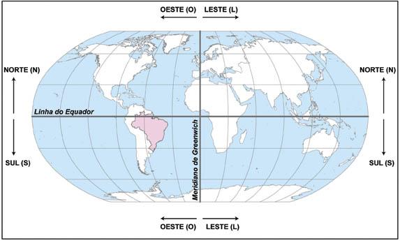 Representação da Terra com destaque à Linha do Equador e os demais paralelos na posição horizontal e Greenwich e os demais meridianos na posição vertical. Ilustração: IBGE