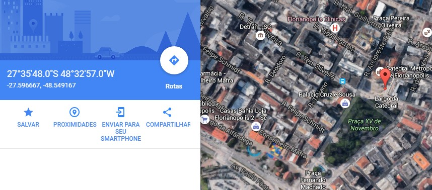No Google Maps, por exemplo, é possível buscar lugares de acordo com as coordenadas geográficas inseridas.