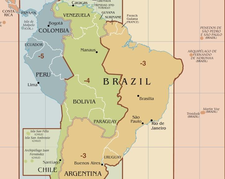 Representação que demonstra os quatro fusos horários brasileiros que vigoram atualmente e a diferença entre os limites teóricos e práticos. Ilustração: TimeZonesBoy / Wikimedia Commons [CC-BY-SA 4.0]