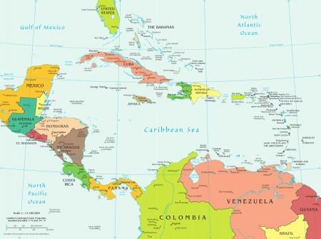 Mapa da América Central e seus países. Fonte: CIA World Factbook [domínio público]