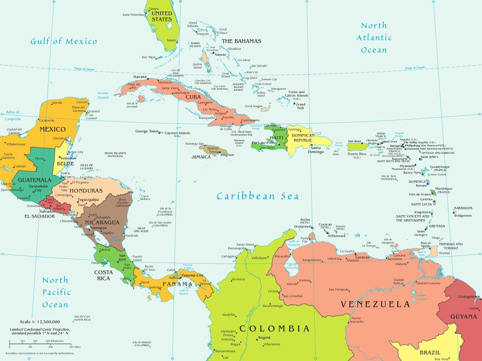 Mapa da América Central e seus ...