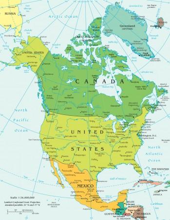 Mapa político da América do Norte. Fonte: CIA World Factbook [domínio público]