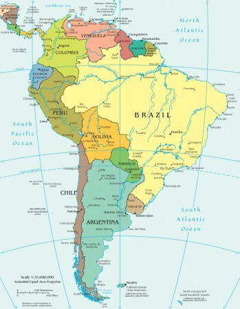 Mapa político da América do Sul. Crédito: CIA World Factbook / domínio público