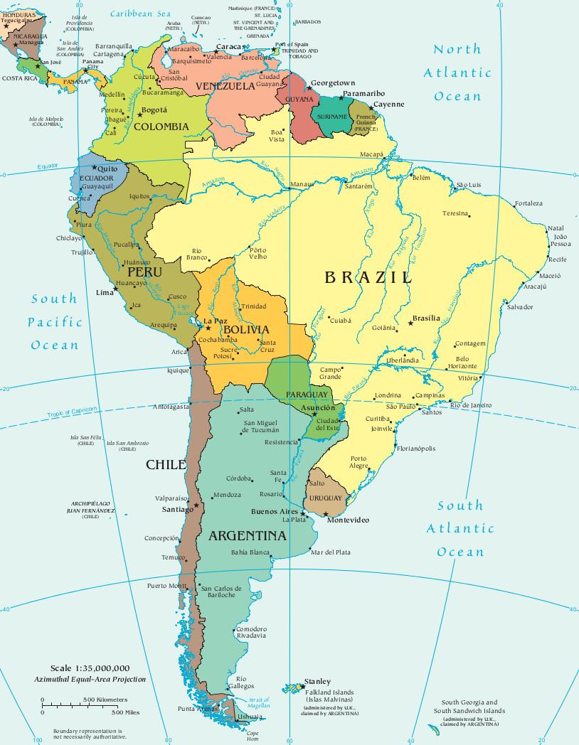 mapa da america do sul América do Sul   InfoEscola mapa da america do sul