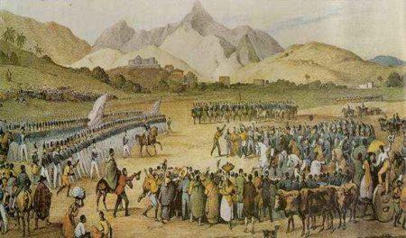 Tropas do Império se preparam para atacar os revoltosos da Balaiada. Ilustração: Rugendas
