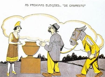 Voto de cabresto, forma utilizada para perpetuação do Coronelismo. Ilustração: Storni [domínio público], via Wikimedia Commons