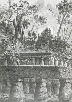 Jardins Suspensos da Babilônia. Ilustração de Jean Antoine Valentin Foulquier [domínio público] / via LOC.gov