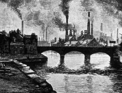 Ilustração da paisagem inglesa durante a Revolução Industrial. As grandes chaminés expelindo fumaça representava desenvolvimento.