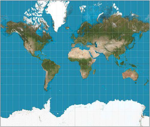 Projeção de Mercator. Ilustração: Strebe  [CC-BY-SA-3.0 (http://creativecommons.org/licenses/by-sa/3.0)], via Wikimedia Commons