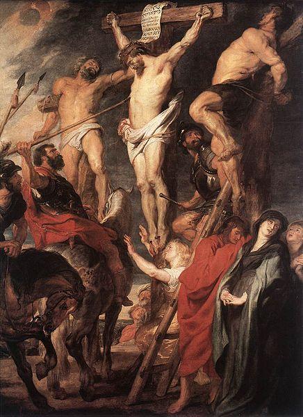 """Cristo crucificado entre dois ladrões"", pintura de Peter Paul Rubens [Public domain], via Wikimedia Commons"