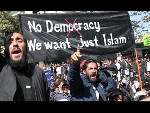 """""""Democracia não, nós queremos apenas o Islã""""."""