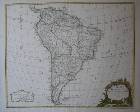 A América do Sul em 1750, conforme mapa do cartógrafo francês Robert de Vaugondy (domínio público / via Wikimedia Commons)