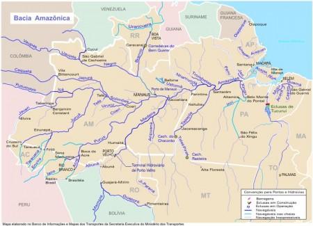 Mapa da Bacia do Rio Amazonas (clique para ampliar). Fonte: Ministério dos Transportes / via Wikimedia Commons