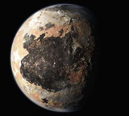 Concepção artística da superfície de plutão. Ilustração: NASA.