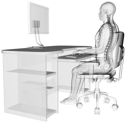 Postura correta para utilização de computador.  Ilustração: Sebastian Kaulitzki / Shutterstock.com