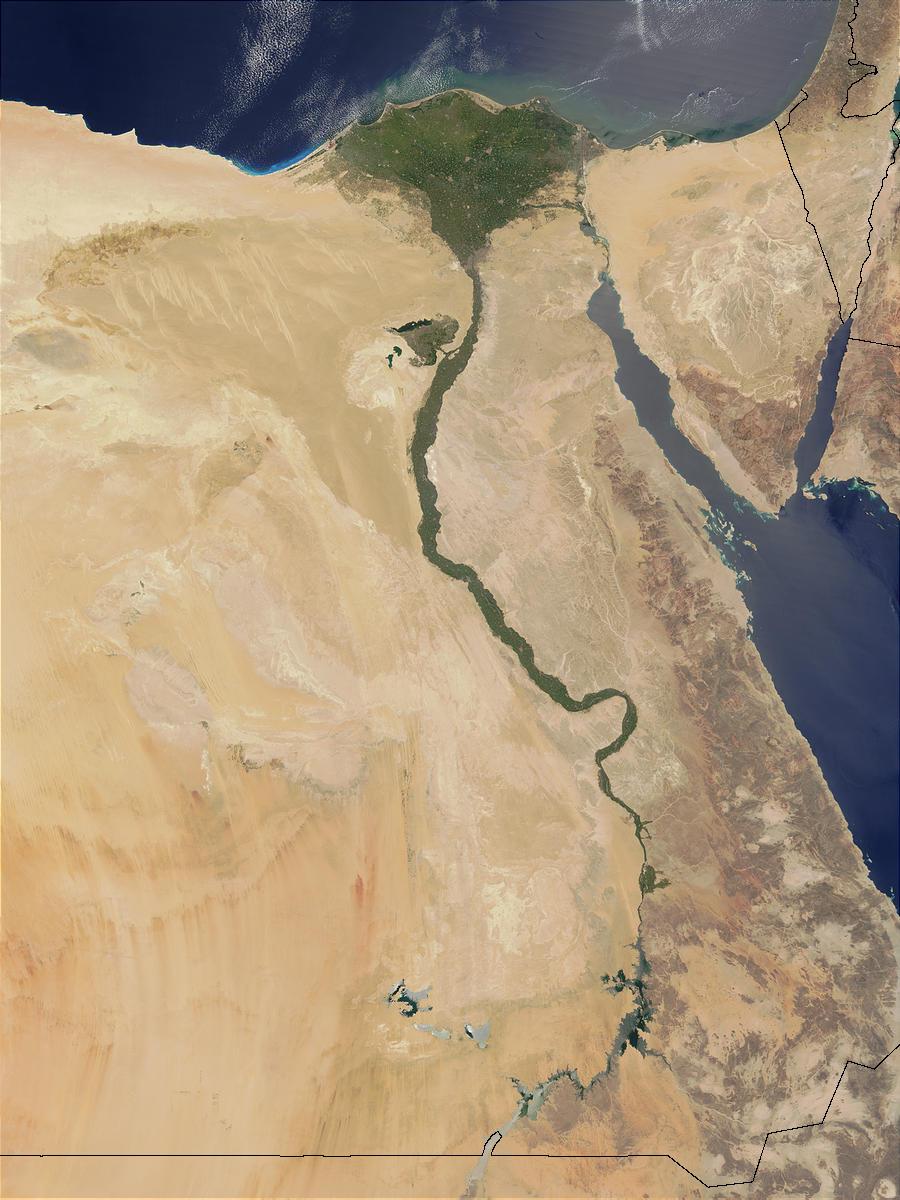 Foto de satélite do Rio Nilo. Foto: Jeff Schmaltz / NASA / GSFC.