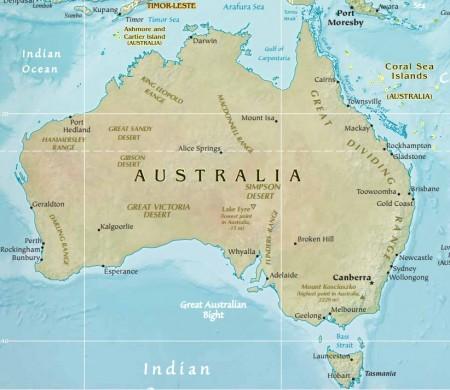 Mapa da Austrália. Fonte: CIA.gov