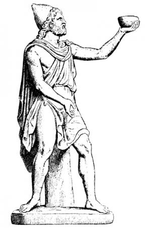 Odisseu oferece vinho ao Ciclope. Ilustração: [domínio público] / via Wikimedia Commons