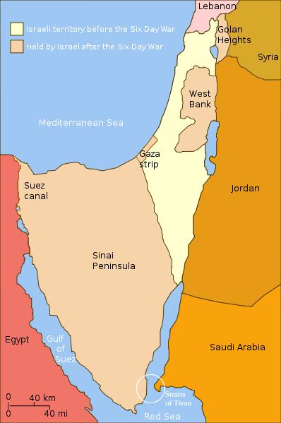 Territórios Israelenses antes e depois da Guerra dos Seis Dias. Ilustração: Wikimedia.