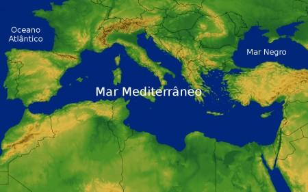 Mar Mediterrâneo. Ilustração: Map Resources / Shutterstock.com [adaptado]