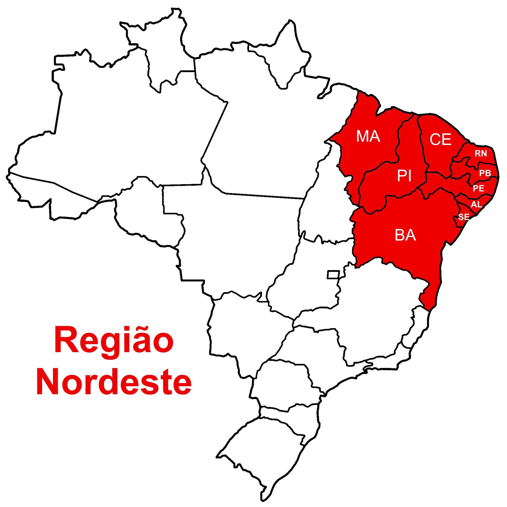 Mapa da Região Nordeste do Brasil.