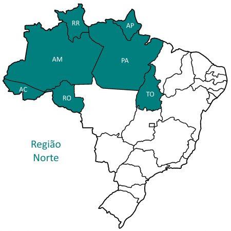 Mapa da região norte do Brasil.