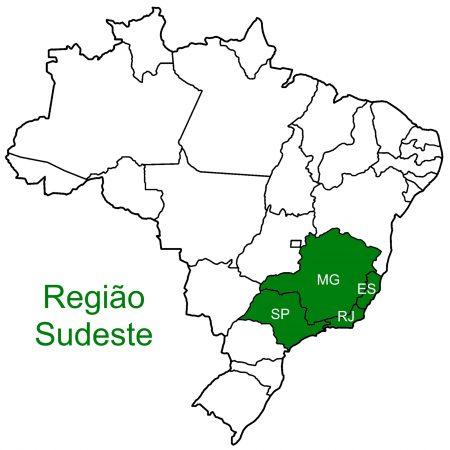 Mapa da região Sudeste.