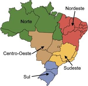 Mapa com as regiões do Brasil.