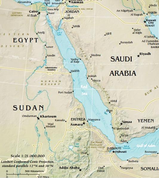 Mar Vermelho. Mapa: CIA Factbook