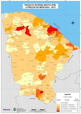 Mapa do PIB por município do Estado do Ceará. Fonte: IPECE / Governo do Estado do Ceará. (clique para ampliar)