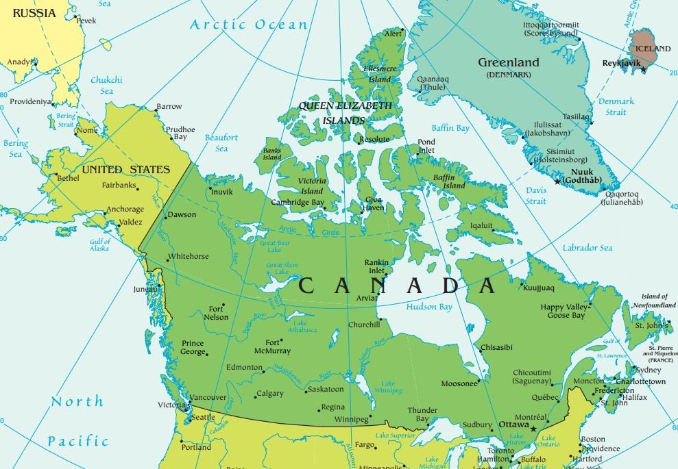 mapa canada com cidades Geografia do Canadá   InfoEscola mapa canada com cidades