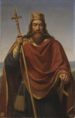 Clóvis I, rei dos Francos entre os anos 481 e 511. Pintura de François-Louis Dejuinne.