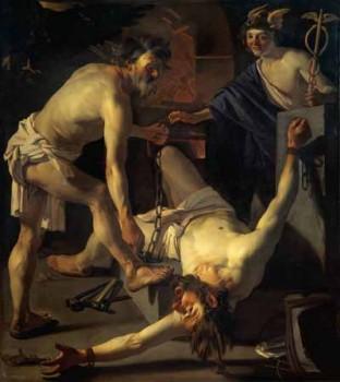 Prometeu Acorrentado (pintura de Dirck van Baburen - 1595-1624)