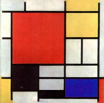 Composição com vermelho, amarelo, azul e preto. Quadro de Piet Mondrian - 1921.