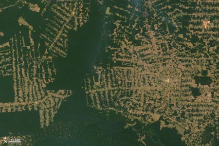 Imagem de satélite mostra o avanço do desmatamento na Amazônia. Foto ¹: NASA