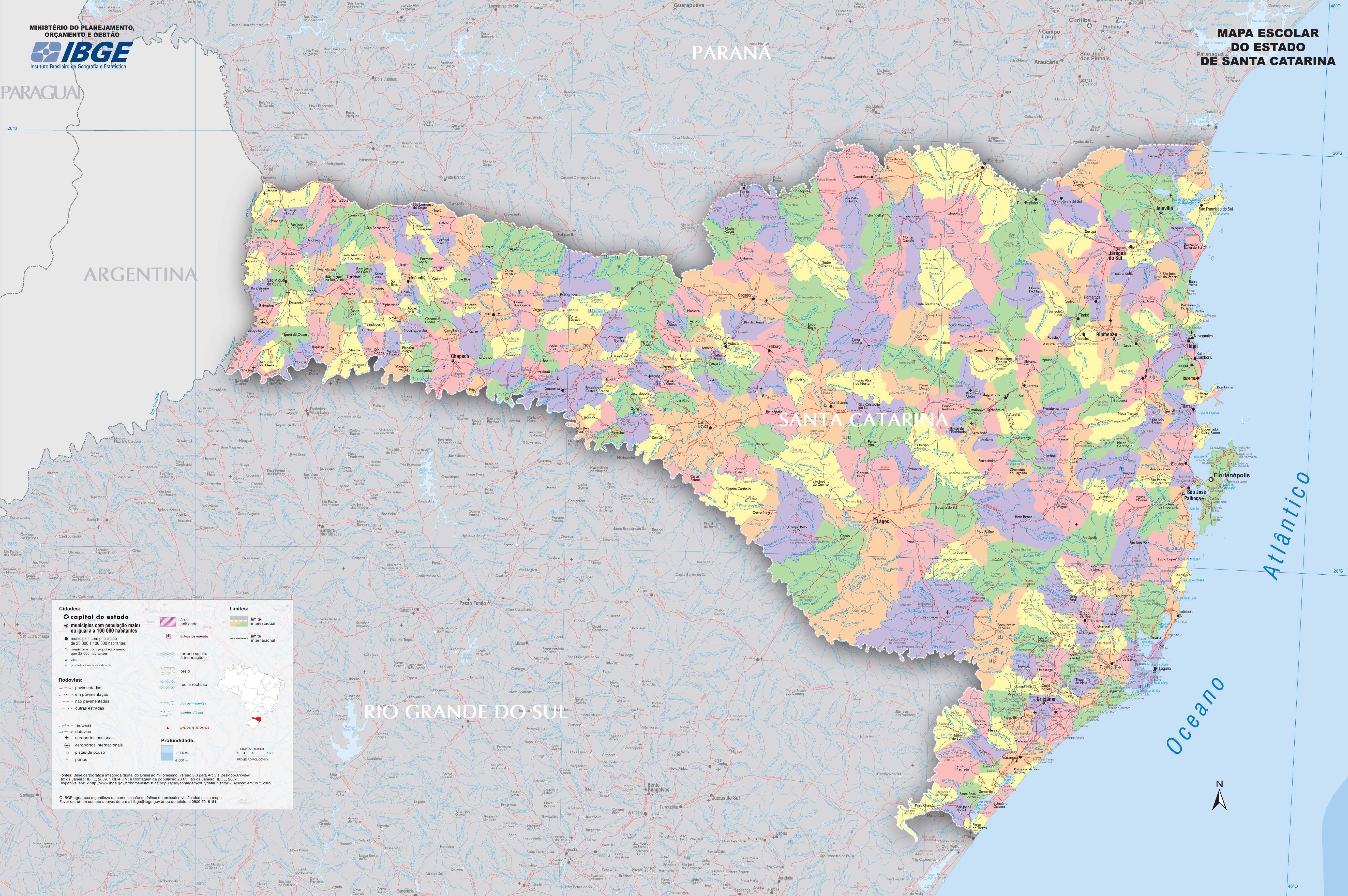 Mapa poltico de Santa Carina  Municpios de SC  InfoEscola
