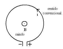 Figura 01: Representação esquemática de uma espira que conduz uma corrente de intensidade i e gera uma indução magnética de intensidade B em seu centro