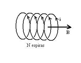 Figura 02: representação esquemática de várias espiras conduzindo uma corrente i, gerando um campo magnético B