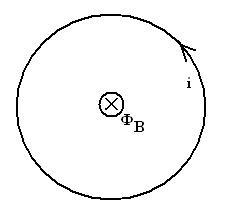 Figura 02: representação de uma espira circular percorrida por uma corrente elétrica devido a variação do fluxo magnético: positivo entrando no plano da espira