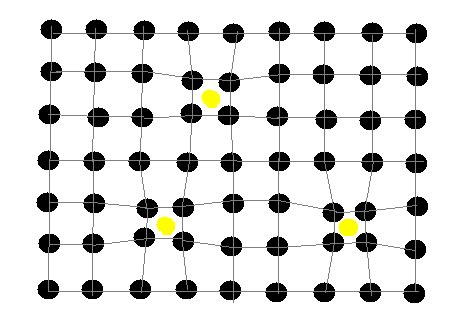 Figura 02: representação de três elétrons em uma rede cristalina. Ao se mover pela rede de átomos, ocorrem perturbação da cadeia de átomos.