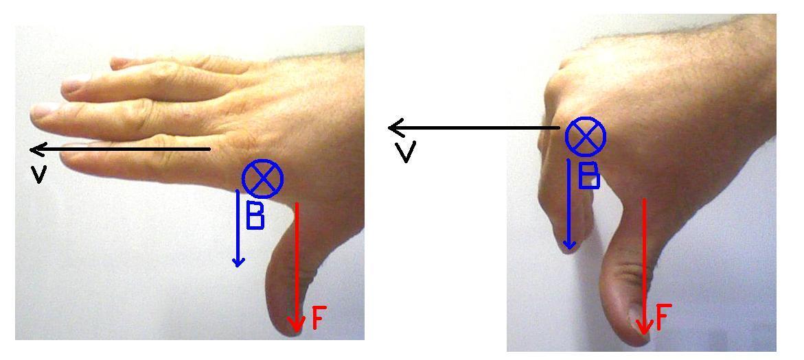 Figura 02: representação da regra da mão direita para a força magnética utilizando os dedos e o polegar para representar os eixos v, B e F.