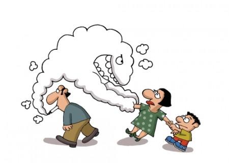As pessoas que convivem com fumantes também são prejudicadas pelas substâncias do cigarro. Ilustração: Artistan / Shutterstock.com