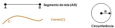 Figura 1 – Ilustra um segmento de reta, curva e circunferência de raio (R).