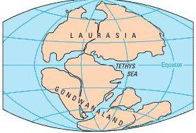 Gondwana e Laurásia. Ilustração: USGS [domínio público] / via Wikimedia Commons