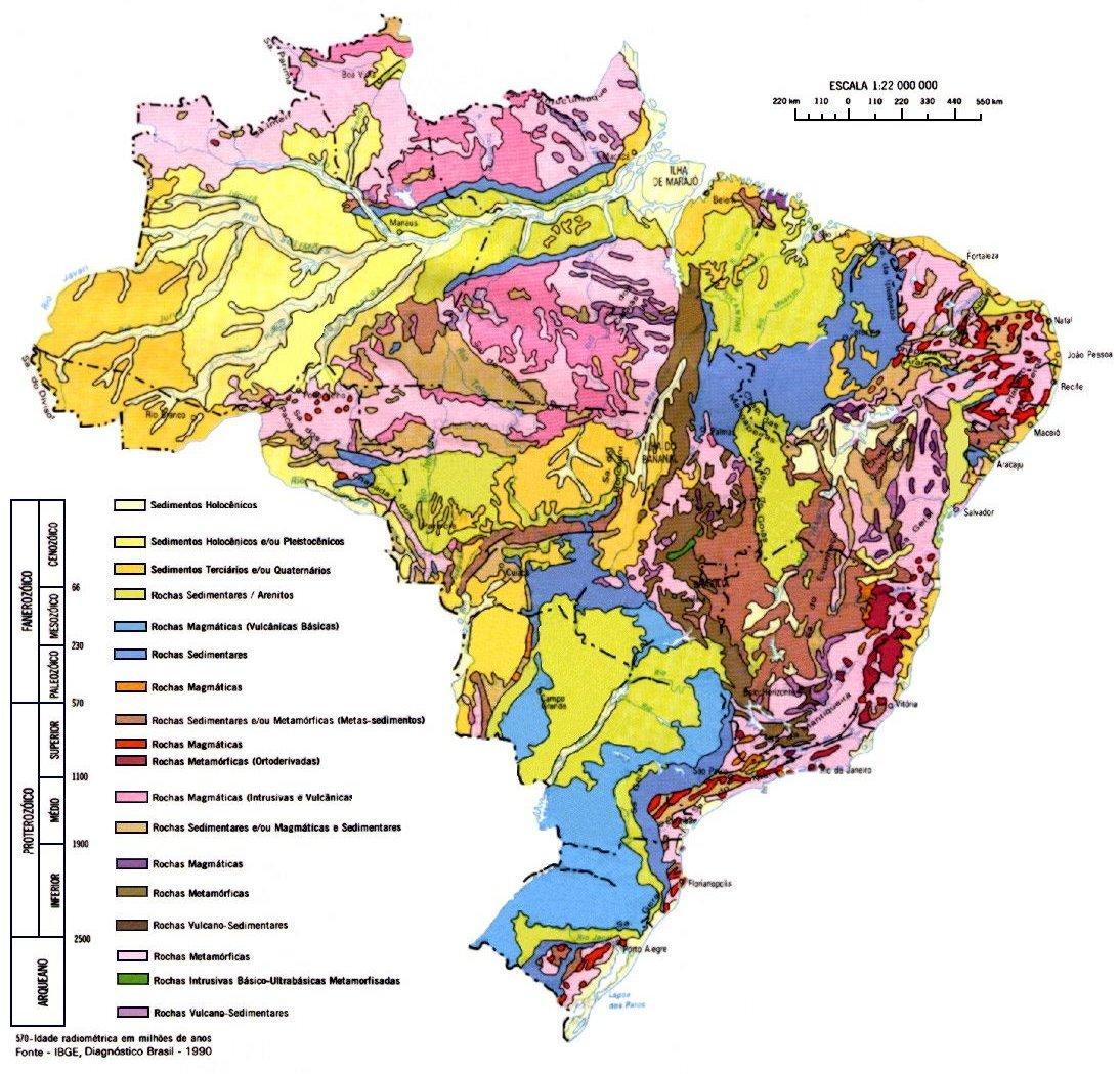 Mapa Da Geologia Do Brasil Geografia Infoescola