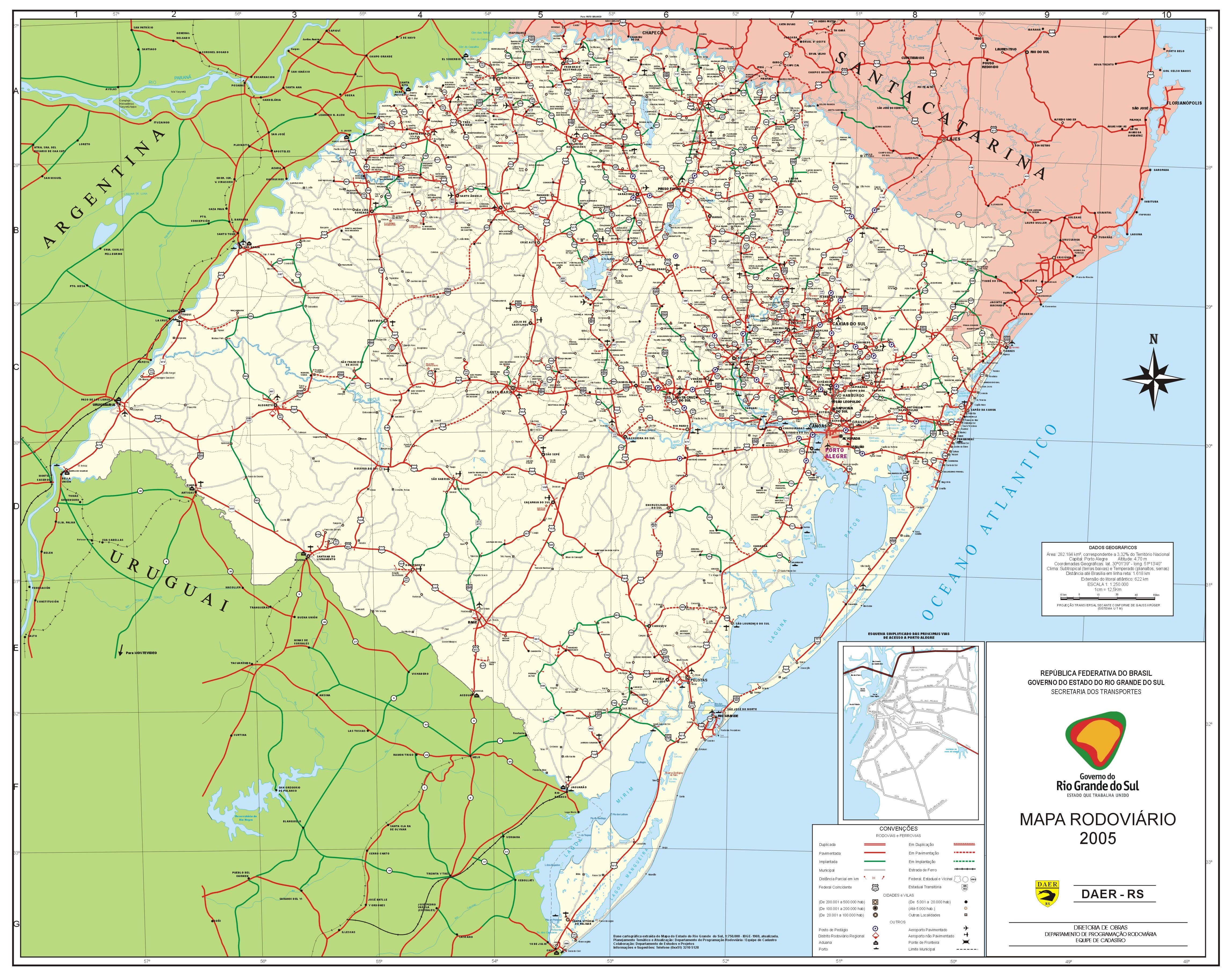 fda0954b1 Mapa Rodoviário do Rio Grande do Sul - Mapas - InfoEscola
