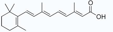 Fórmula estrutural plana do ácido retinoico.