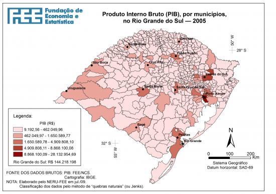 Mapa do PIB dos municípios do Rio Grande do Sul