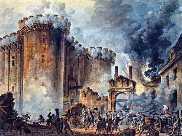Pintura retrata a queda da Bastilha.