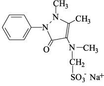 Fórmula estrutural da dipirona sódica.
